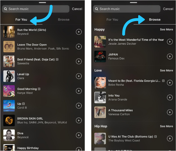 Side-by-side shot of the For You tab and the Browse tab when you open the music sticker on Instagram